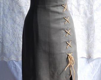 1990s Olive grey sheath corset laced mid calf grunge dress