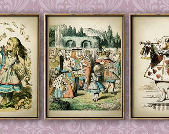 Alice in Wonderland print SET of 3, Alice in Wonderland poster, children illustration wall decor, fantasy rabbit print, children room decor
