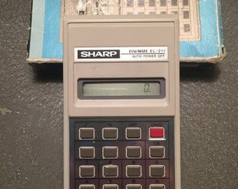 Vintage 80's Sharp Elsi Mate EL - 211 Calculator