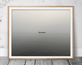Minimalist wall art, black and white art, Ocean photography, Ocean wall art, Ocean print, Ocean art, Beach decor, Photographic print, Sea
