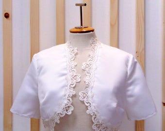 Bolero bridal, bolero in satin, bolero white, bolero short sleeves