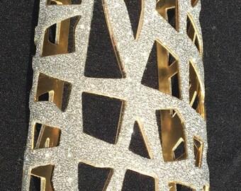 Greek style glitter cuff bracelet with Abstract pattern