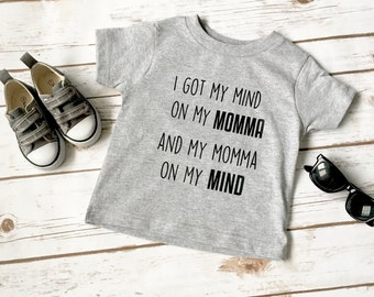 I Got My Mind On My Momma Shirt, Hipster Boy Shirt, Momma's boy, Mama Shirt, Funny Toddler Shirt, Toddler shirt, Little Boy Shirt, Boy Top