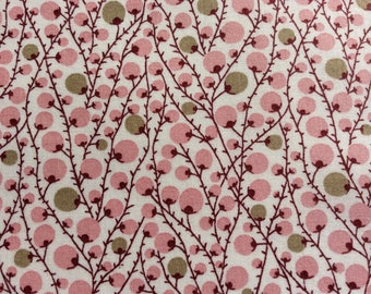 English Pima lawn cotton fabric, priced per 25cm. Berries on off white