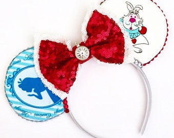 The Rabbit Hole - Handmade Disney Alice in Wonderland Inspired Mouse Ears Headband