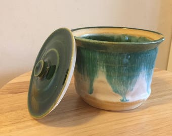Handmade Ceramic Jar, Glazed with Horizon White and Forest Green Gloss. Lidded Vessel, lid fits perfectly!