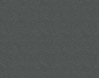 Gray Herringbone Fabric - Penny Rose Menswear Fabric - Gray ZigZag Cotton