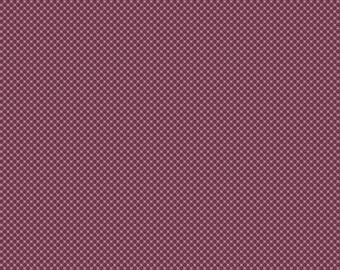 Purple Dot Fabric - Posy Garden Grid Purple - Plum Cotton