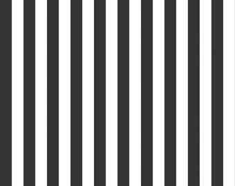 "Black and White Stripe Fabric - Riley Blake Designs 1/2"" Stripe -  Black and White Stripe - Half Inch Stripe Fabric"