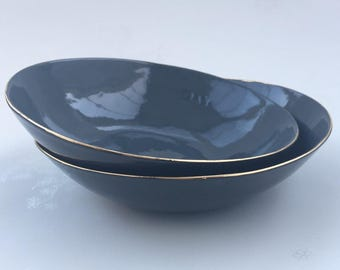 Gold Rimmed Black Porcelain Bowl. Contemporary Ceramic Bowl. Handmade Clay. Minimalist Dining. Home Decor. FebbieDay Ceramics.