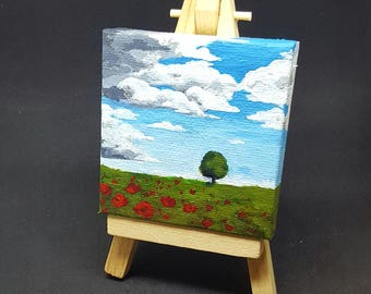 "2.75x2.75"" Lonely Tree Miniature Acrylic Painting and Easel"