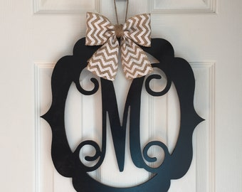 Monogram Door Hanger - Spring Door Hangers - Wood Scoll Door Hanger - Spring Door Decoration - Black Wood Monogram Hanger - Black Door Decor