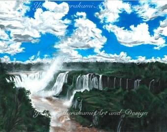 "Printable Illustration, Home Decor, Wall Decor Art Acrylic Painting, Instant Download ""Foz do Iguaçu"""