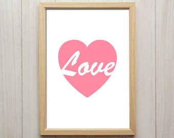 Love Pink Heart Wall Art, Modern Print, Romantic Gifts For Him, Love Quote Artwork, Heart Wall Decor, Pink Giclee Print