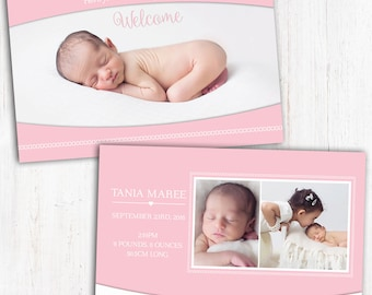 Photo Birth Announcement | Baby Birth Announcement | A6 | Double Sided | Card stock 350gsm | Girl | Printed Announcement | Printed
