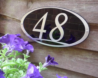 Stainlees Steel Framed House Number - Oval
