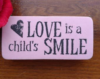 Love is a Child's Smile Rubber Stamp, Foam Mounted, Child Smile Love Children, Unbranded
