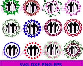 60 % OFF, Floral Monogram, Frames svg, dxf, ai, eps, png, monogram files, Flower Circle Monogram Frames, Flower Cut Files, Monogram Frame