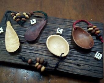 Touchspoons Wooden Anxiety Relief Spoons/ Key Ring  Tasmanian Huonpine and Myrtle Wood Zen Gifts