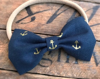 Little Gold Anchors Bow or Headband