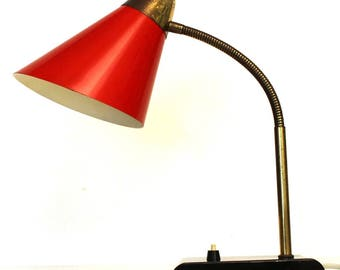Vintage brass, black and red metal desk lamp, 1950s