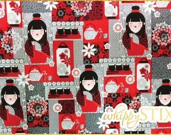 Japanese Fabric By the Yard Fabric, Little Harajuku by Greta Lynn for Kanvas 6383, BTY Grey Black Red Geisha Girl Sushi Cotton, Hard to Find