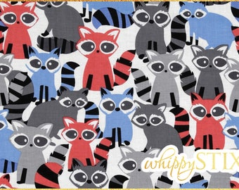Raccoon Fabric By the Yard, Ricky Raccoon Grey by Michael Miller, BTY Woodland Friends Raccoon Cotton Quilting Fabric