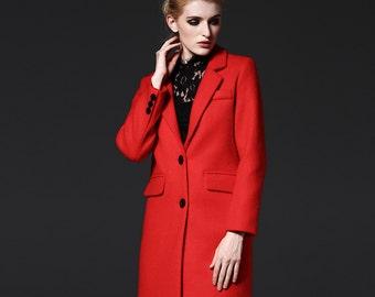 Women's Red  Wool Coat -  woman coat- Custom wool coat-  Suit- winter coat--girls wool coat-ladies winter coat