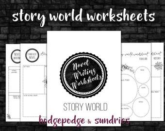 Novel Writing printables;  Story World Worksheets; novel writing bundle;