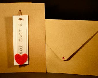 I Love You Pendant in Brown Card