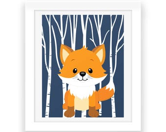 Woodland Fox Wall Decor - Digital Print - Fox Print - Nursery Decor - Baby Room Wall Art - Instant Download - Nursery Wall Art - Baby Print