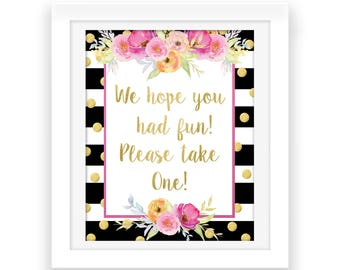 Gold and Pink Floral Party Decorations - We hope you had fun Party Printable - Watercolor Flowers - Baby Shower Printable - Birthday Decor