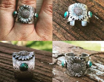 Sterling silver and turquoise sunflower ring