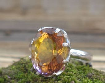 Ametrine ring. Ametrine Gemstone and Sterling silver 925. Silver ring with natural Ametrine. Present for her. Gift idea. Gemstone Jewelry