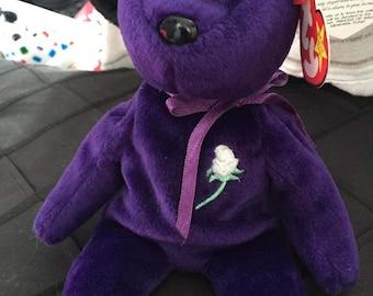TY Beanie***Princess bear***Yellow Stitch in rose.