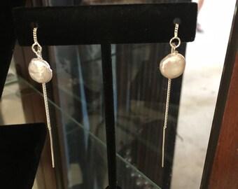 Coin Pearl Thread Earrings