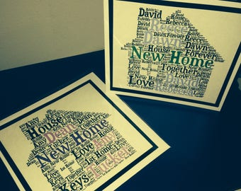 Handmade personalised New Home Greeting Card