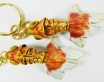A Pair of Chinese Purple-Red Cloisonne Copper Enamel Articulated Goldfish Koi Fish Figurines,Make Pendant Earrings etc Jewelry or Ornament