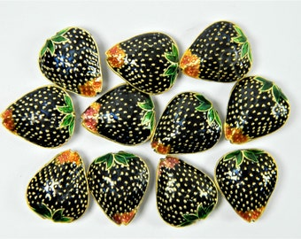 4 Pcs 20x17mm Black Cloisonne Copper Brass Enamel Strawberry Shape Beads,Gold Plated,Make Jewelry or Ornament,Chinese Handicraft