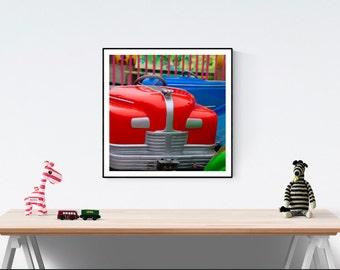 Santa Cruz Boardwalk Cars Ride//Great Kid's Room Print//Playroom Art//Bright Colors//Large Wall Art