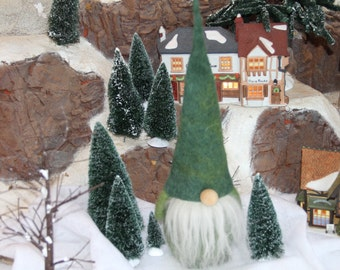 Handcrafted Needle Felted Wool Christmas Doll - Green Gnome