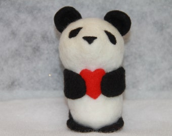 Handcrafted Needle Felted Wool Valentine Animal-Panda with Heart