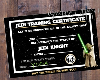 Jedi training certificate for Star Wars party {Digital / printable file}