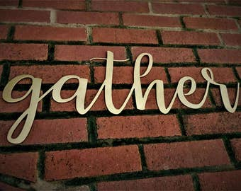 Gather Sign Farmhouse Decor Shabby Chic Rustic Sign Wall Hangings Home