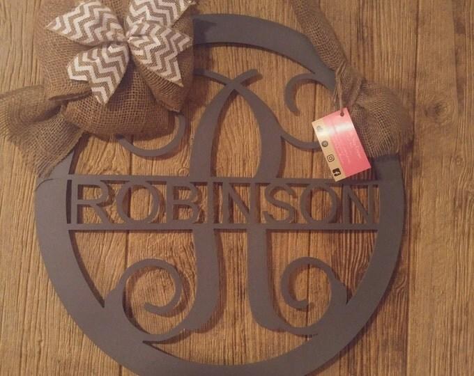 Door Hanger, Door Wreath, Personalized Danger, Door Decor, Metal Sign, Wedding Gift, Monogram Door Sign, Metal Monogram, B, Family Name Sign