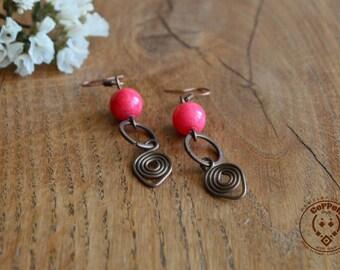 Copper Earrings long, copper jewelry, boho, long dangle earrings, Handmade Jewelry, Handmade Earrings