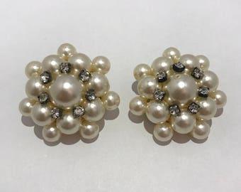 Huge Boucles d'oreilles clips avec perles et strass 1980 vintage french