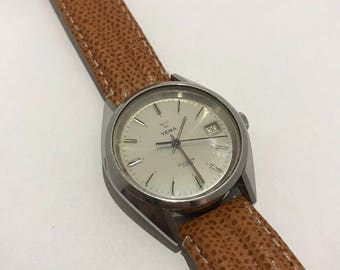 Yema watch quartz vintage 1980 brown leather strap.