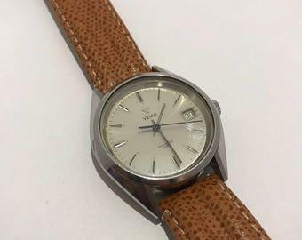 Yema watch quartz vintage 1980 brown leather strap.