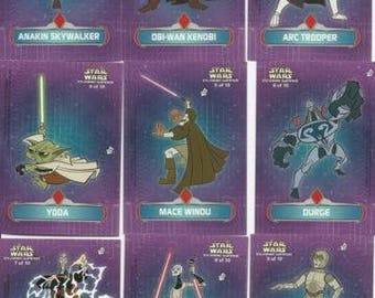Star Wars Clone Wars Animated Topps Sticker Puzzle 10 Card Set #1-10 (Free Shipping)